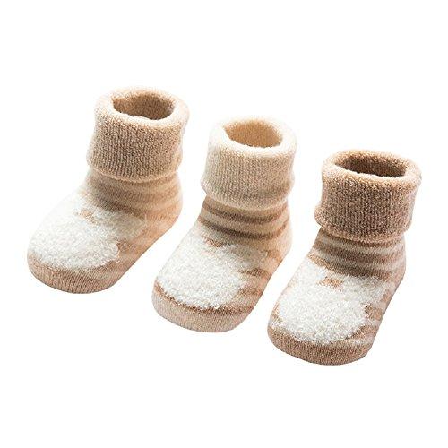 DEBAIJIA 3 Pares de Calcetines Bebé Algodón organico Grueso Calcetines Térmicos Largo Recién Nacidos 6-12 Meses Invierno Para Niños Niñas Animal Rayas