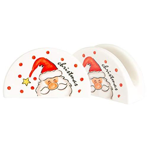Nicola Spring 2 Stück Weihnachten Serviettenhalter Set - Neuheit Festliche Weihnachten Geschirr - Weihnachts