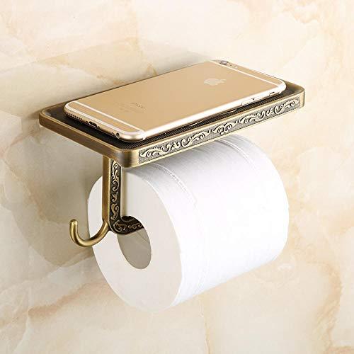 WEMUR Portarollos Papel Higienico Papel higiénico Titular Antiguo Muro Tallado Titular del teléfono móvil del Rollo de Papel montado en Rack de Papel for el teléfono 6P-Oro Accesorios baño