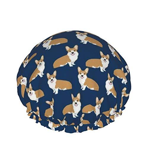 Gorro de ducha de doble capa para uso en el hogar para mujeres y niñas para cabello largo rizado, para todas las longitudes de cabello (Corgi Dog Pet Puppy Dogs Corgis Cute Navy Navy)
