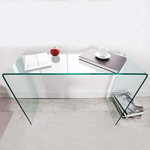 CAGÜ: Design Glasschreibtisch Schreibtisch [Mayfair] Glas transparent 110cm x 35cm