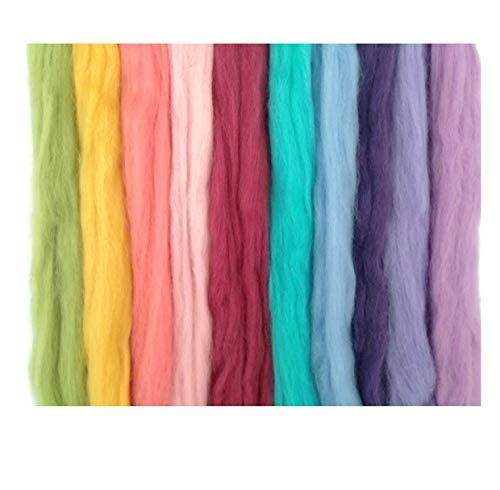 Lana de oveja merina hues Pastel compartimentos/tops. Una mezcla de 10 colores. Ideal para conseguir efecto fieltro en/perforador para aplicaciones, mano spinning proyectos. 60gm unidades