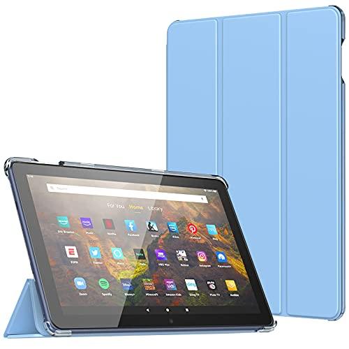 TiMOVO Funda para Todo Nuevo Fire HD 10 & Fire HD 10 Plus Tablet (10.1', 11.ª Generación, 2021), Cubierta Trasera Protectora Estuche Plegable con Auto Estela/Sueño, Azul Claro