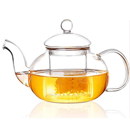 AFENGNI Glass Teapot with Removable Infuser Stovetop Safe Tea Kettle, Blooming and Loose Leaf Tea Maker,300ml