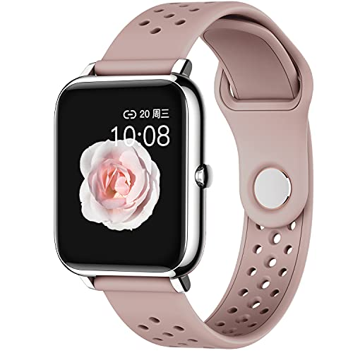 Cosbary Smart Watch for Women Men with Heart Rate Monitor Blood Pressure Blood Oxygen Monitor Sleep Tracker Fitness Watch Compatible with iPhone Android Phones (Pink)