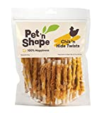 Pet 'n Shape Hide Twists – Chicken Wrapped Rawhide Natural Dog Treats, 16 ounces.