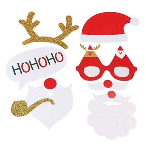 PIXNOR Accessoire Photo Booth Noël (lunettes Moustache Deer Horn Santa Hat)