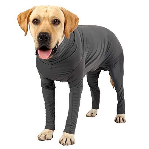 Hunde-Rehabilitationsanzug für Hunde nach Operationen, Hunde-Einteiler enthält das Ausfallen von Hundehaaren, verhindert Lecken, als Halsband-Alternative, für Hunde Angstzustände (M, Grau1)