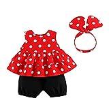 Camisa sin Mangas Floral + Pantalones Cortos + Cintas de Pelo Conjunto Verano Ropa para Ninas Bebe (18-24 Meses, Rojo)