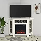 LYNSLIM Corner Electric Fireplace Stand for TVs Up to 55' Flat Screen TV Console with 2 Glass Doors & Shelves for Living Room Entertainment Center Universal Stand,White Oak