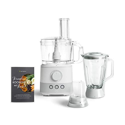 Küchenmaschine Kaia 1000W, 1,5L Behälter, Food Processor inkl. 4 Schneidescheiben, Messereinsatz, Knethacken, 150ml Mini-Zerkleinerer, Rezeptheft - Weiß