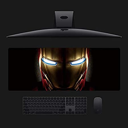 Csqhczs Sbd Gaming Mauspad Anime Mauspad Iron Armor Iron Man Stark Industrielle Iron Man Marvel Iron Man Mauspad Übergroße 800 300 3mm Rutschfeste Gummi Genähte Kante Tischset Keyboard Pad Küche Haushalt