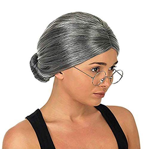 3 otters Costume Old Lady Wig, Gray Wig Women's Cosplay Wig with Glasses Gray Wigs for Women Halloween Cosplay