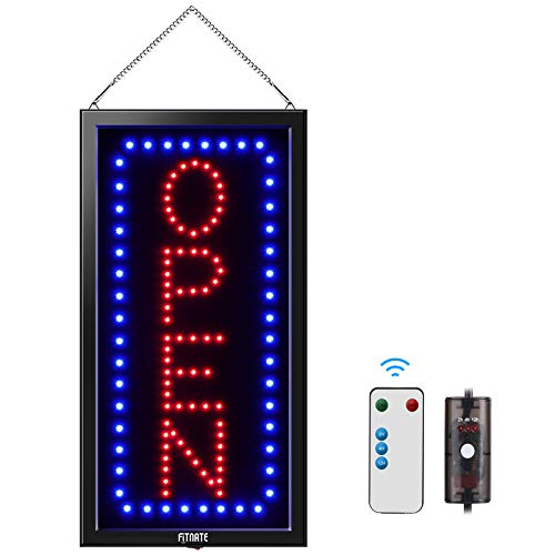 19x10inches LED Open Sign, Remote Control&Timing Function, Business Open Sign Advertisement Board Electric Display Sign, 2 Lighting Modes Flashing & Steady, for Walls, Window, Shop, Bar, Hotel