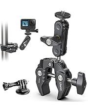 """ULANZI Monitor de montaje de abrazadera para cámara Super Clamp 360 ° Ballhead Magic Arm Adaptador de cabeza de bola doble con rosca de 1/4 """"-20 y 3/8""""-16 para Canon Nikon DSLR cámara/Gopro/luces LED/Ronin-M/Ronin MX/Freefly MOVI"""