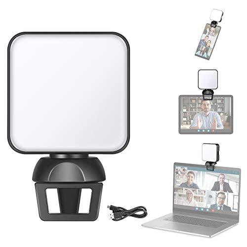 Neewer Kit de Iluminación para Videoconferencia con Abrazadera para Teléfono/Portátil/iPad, Iluminación con Zoom para Portátil, Luz de Video Mini USB 6500K para Videoconferencia Trabajo Remoto