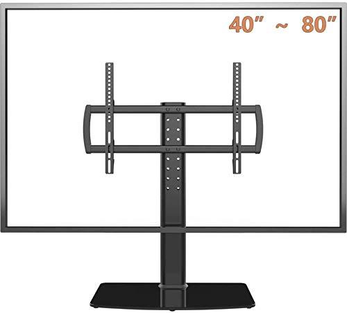 Alysays Soporte de TV universal con soporte de pared para 40 a 80 canales de altura ajustable de 5 niveles, base de vidrio templado, soporta pantallas de hasta 66 kg (tamaño : 27)