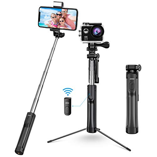 Mpow Palo Selfie Trípode Bluetooth, 3 en 1 Selfie Stick Móvil con Control Remoto, Selfie Stick Extensible para iPhone 11 Pro Max/11 Pro/XS Max/XR/8/8 Plus, Galaxy S20 Plus/S10, Huawei, Xiaomi