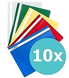 ELBA 100742149 Schnellhefter A4 10er Pack aus Kunststoff für ca. 160 DIN A4-Blätter farbig sortiert
