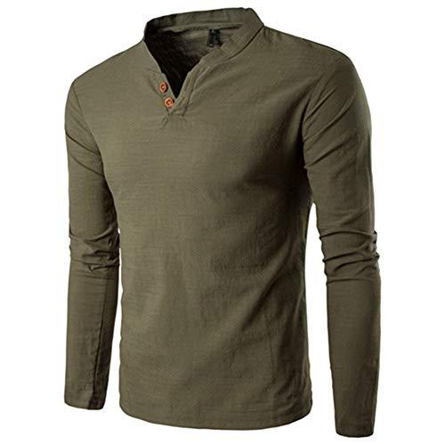 Mr.BaoLong&Miss.GO Herbst Herren Langarm T-Shirt V-Ausschnitt T-Shirt Herren T-Shirt Casual Bottoming Shirt