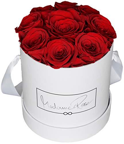 MadameRose Rosenbox rund mit 9 konservierten roten Rosen in weißer Hutschachtel als Geschenk und Deko, Größe L, echte Premium Rosen 3 Jahre haltbar