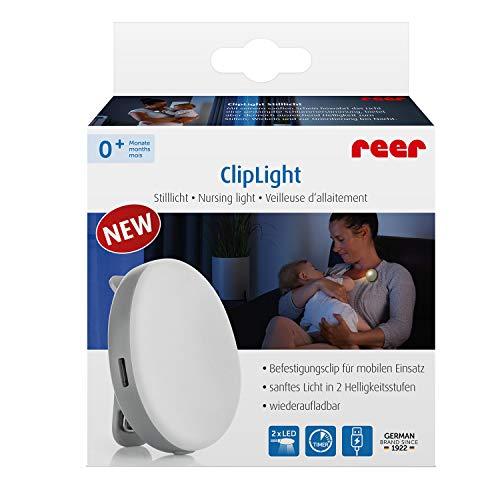 Reer 52361 ClipLight LED-Still-Licht mit Clip, 2 Helligkeitsstufen, 15 Minuten Timer, Grau