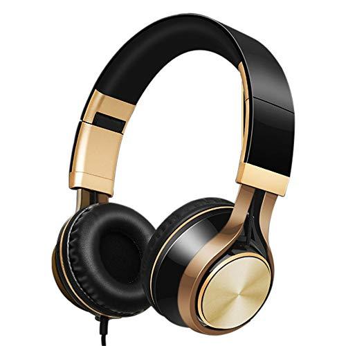 BSTLY Auriculares - Auriculares Cerrados Stereo,Auriculares auriculares con cable para juegos subwoofer con micrófono voz karaoke teléfono móvil computadora universal oro