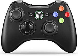 VOYEE Wireless Controller Compatible with Microsoft Xbox 360 & Slim, with Upgraded Joystick/Dual Shock/Headset Port (Black)