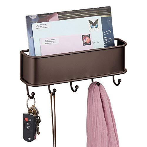 mDesign Organizador de cartas con varios ganchos cuelga llaves – Organizador de pared para correo, llaves, móviles, correa para perros, etc. – Organizador de llaves con bandeja de metal – color bronce