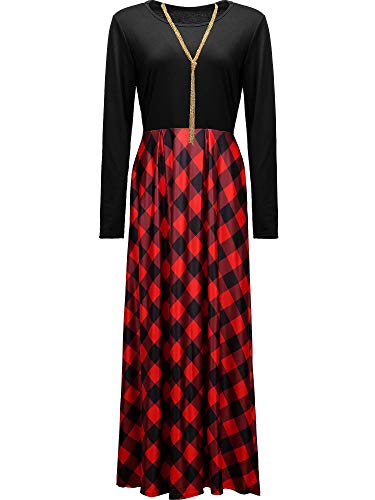 Women Christmas Plaid Long Sleeve High Waist Maxi Girls Dress with Pocket, Necklace (Black and Red,Children-M)