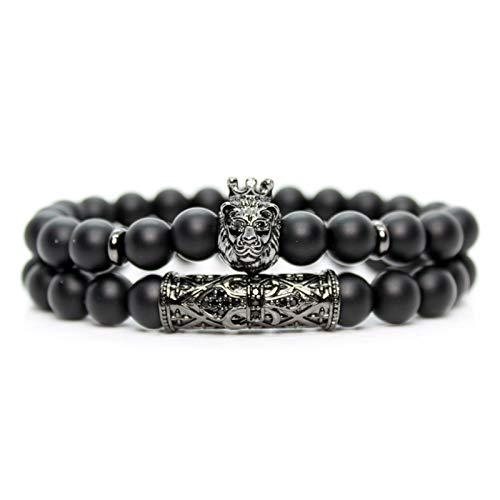 XIAOSHI Pulsera Actividad Inteligente Black Onyx Piedra Beads León Pulsera Hecho a Mano Amigos Pulseras para Mujer Charm Joyería Pulseras Moda Moda 2019 Pulsera Pandora (Metal Color : Jewelry)