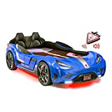 Cilek Twin Size Kids Race Car Bed Frame Remote Controlled, LED Headlights, Engine Sound, Upholstered Headboard, Interior Padding, License Plate, Blue