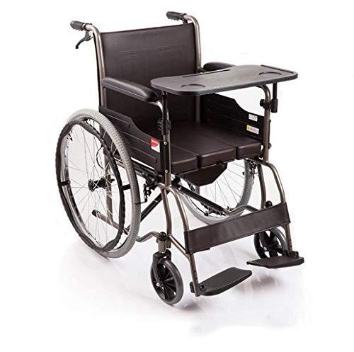 YIQIFEI Silla de Ruedas Plegable, Ligera, para Pacientes discapacitados, vejez, Simplicidad con Orinal y Mesa de Comedor (Silla de Ruedas)