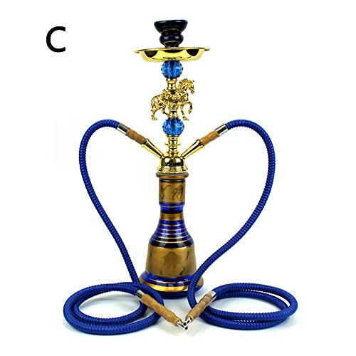 Shisha, Naghile Tube, 2 Schläuche, schwarzer Rauch, keine traditionelle indische Dekoration, 50 cm hoch, mit Pfeife, kein Nikotin-C