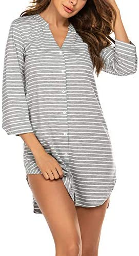 Ekouaer Women s Sleep Dress Striped Nightgown 3 4 Sleeves Nightshirt Soft Button Down Sleepshirt product image