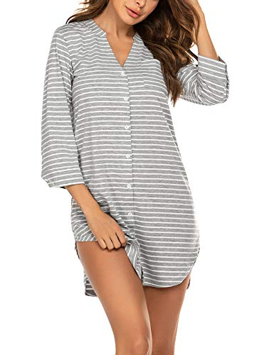 Ekouaer Women's Nightshirt Sexy Sleep Shirt Soft Cotton Sleepwear Button Down Nightdress Striped Sleepshirts