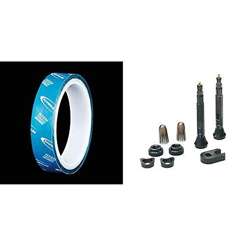 Schwalbe Fahrradfelgenband Tubeless Felgenband 10 m x 29 mm schwarz, 7.5 x 5 x 11 cm & Fahrradschlauch Tubeless-Ventil TL-Valve, 40 mm Silber, 5x3x3cm