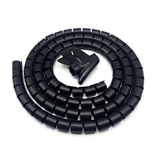 FUJIE 26mm x 2m Organizador de Cables en Espiral con Abrazadera Cuttable Manguera de Cable Manguera Espiral Flexible para Sala de Estar u Oficina, Negro