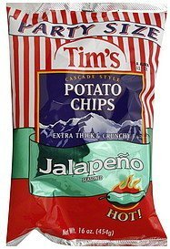 Tim's Potato Chips, Cascade Style, Jalapeno Seasoned, Party Size, 16oz Bag (Pack of 2)
