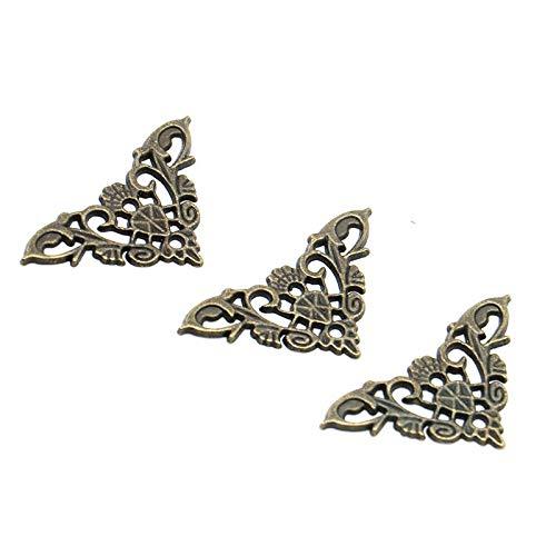 NO LOGO LT-Protector, 4PCS Bronze Boîte à Bijoux Papillon Livre d'angle Support Accessoires Cadre Antique Portable Menus décoratifs Protecteur