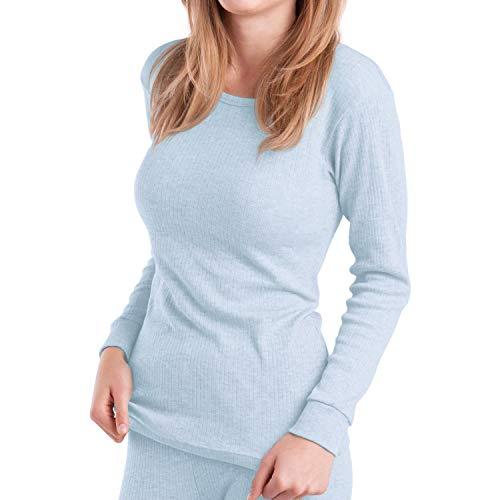 MT Damen Ski- & Thermohemd - warme Unterwäsche lang mit Innenfleece - Ice Blue S