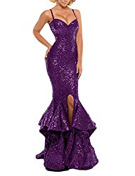 Purple Sequin Prom Gown Mermaid Bodycon Dress
