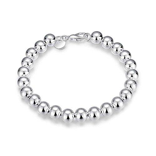 Nykkola Armband Armreif 925er-Silber poliert, Kugelkette