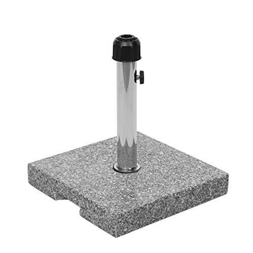 Mendler Base Piede per ombrellone Quadrata HWC-F92 Granito Marmorizzato 23kg Grigio