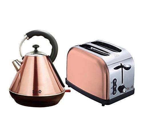 Spotondelz?Diamond Edition Copper 1.7L Kettle and 2 Slice Toaster Breakfast Set