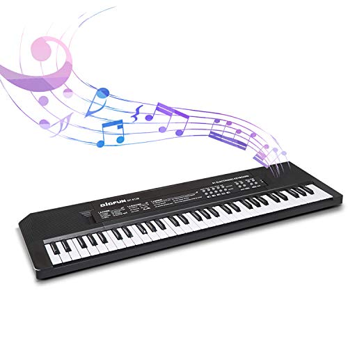 SAOCOOL Kids Keyboard Piano, 61 Keys Portable Electronic Piano Keyboard Educational Music Toy with Microphone for 3-10 Years Old Boy and Girls (Single Speaker)