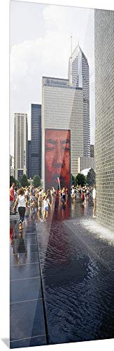 GREATBIGCANVAS Group of People Playing in Water, Crown Fountain, Millennium Park, Chicago, Illinois High Defin.