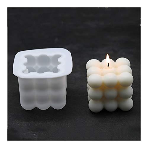 Jengijo Hornada del molde - Esfera 3D cubo mágico de la burbuja del molde antiadherente Mousse hornada de la torta Moldes Square molde de la vela de cera de silicona Moldes de bricolaje jabón hecho a