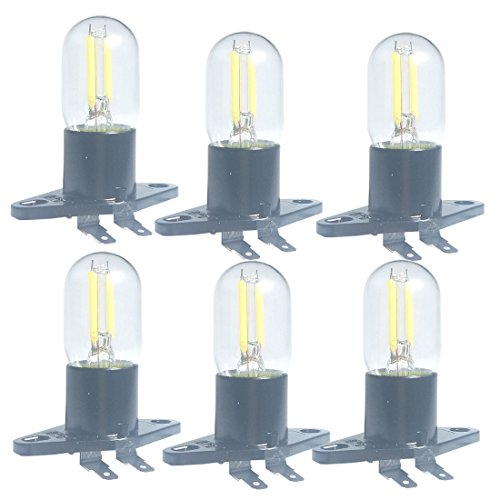 Led Microwave Bulb 1.5w Z187 Filament Light 240v Equivalent 20w Incandescent Lamps For Midea Refrigerator Microwave Oven Electrical Range Hood Indicator Light,6 PACK