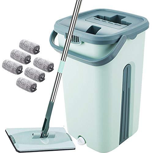YNC Mopa sin touch, sistema de cubo 360°, juego de fregona con cubo, fregona, 6 paños para escurrir sin necesidad de agacharse, fregona para una limpieza fácil y manos limpias, cubo de 2,7 L (verde)